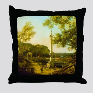 English Landscape Capriccio with a Column by Canal