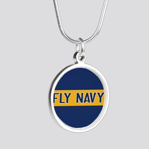 U.S. Navy: Fly Navy (Blue & Silver Round Necklace