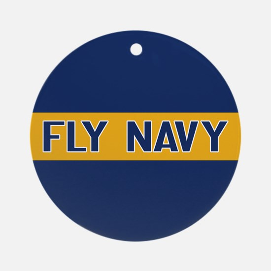 U.S. Navy: Fly Navy (Blue & Gold) Round Ornament