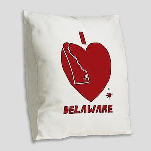 I Love Delaware Burlap Throw Pillow