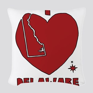 I Love Delaware Woven Throw Pillow
