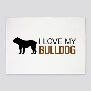 Dogs: I Love My Bulldog 5'x7'Area Rug