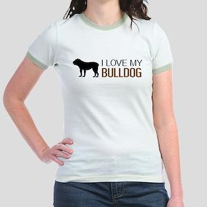 Dogs: I Love My Bulldog Jr. Ringer T-Shirt