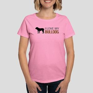 Dogs: I Love My Bulldog Women's Dark T-Shirt