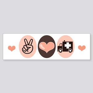 Peace Love Paramedic EMT Bumper Sticker