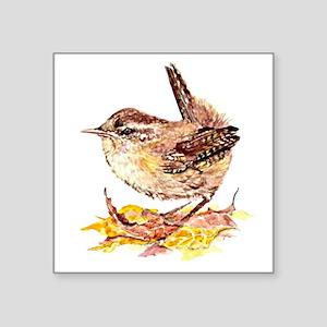 Watercolor Cute Wren Bird Art in Fall or A Sticker