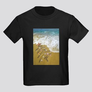 Christmas Seashells and Tree Washed Up on T-Shirt