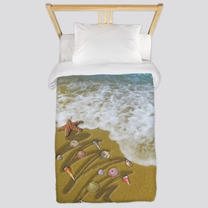 Christmas Seashells and Tree Washed Up Twin Duvet