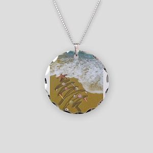Christmas Seashells and Tree Necklace Circle Charm