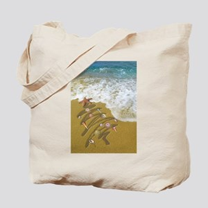 Christmas Seashells and Tree Washed Up on Tote Bag