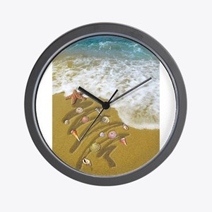 Christmas Seashells and Tree Washed Up Wall Clock