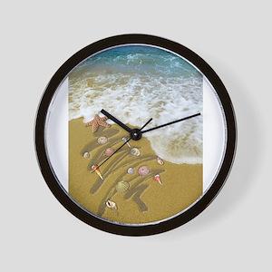 Christmas Seashells and Tree Washed Up Wall Clock