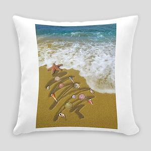 Christmas Seashells and Tree Washe Everyday Pillow