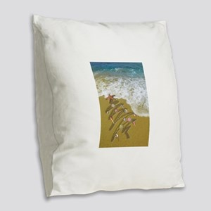 Christmas Seashells and Tree W Burlap Throw Pillow
