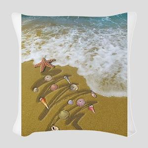 Christmas Seashells and Tree W Woven Throw Pillow