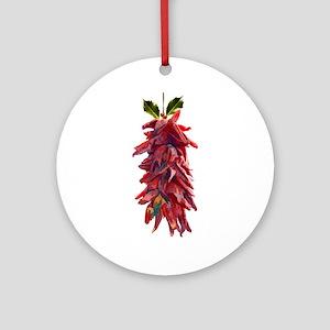 Southwest Mistletoe - Chile Pepper Round Ornament