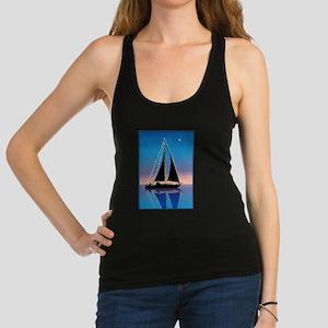 Sails at Sunset Sailboat Silhou Racerback Tank Top
