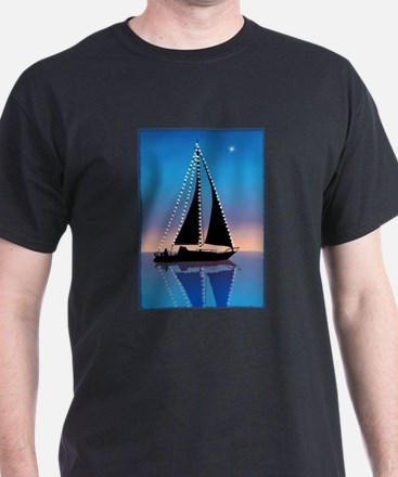 Sails at Sunset Sailboat Silhouette with X T-Shirt
