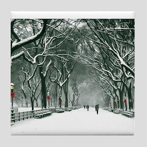 Central Park Snowy Path Tile Coaster