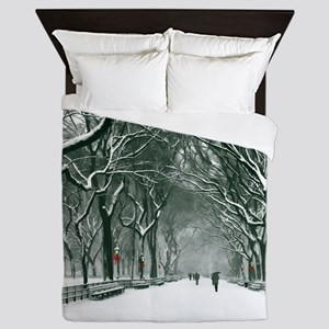 Central Park Snowy Path Queen Duvet