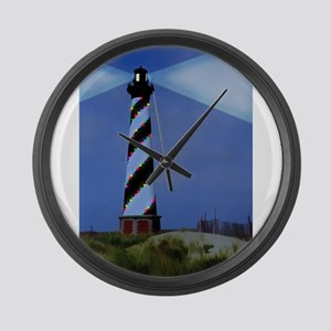 Cape Hatteras Light House with Ch Large Wall Clock