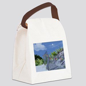 Beach Dune and Fence with Xmas Li Canvas Lunch Bag