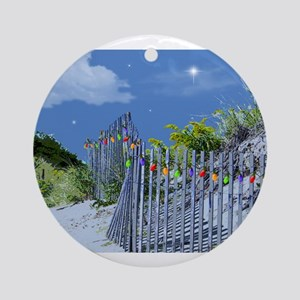 Beach Dune and Fence with Xmas Ligh Round Ornament