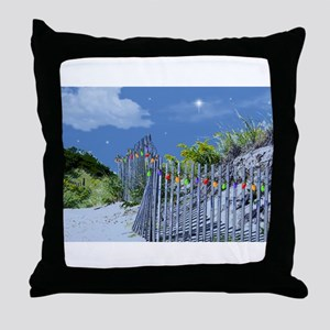 Beach Dune and Fence with Xmas Lights Throw Pillow