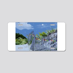 Beach Dune and Fence with X Aluminum License Plate
