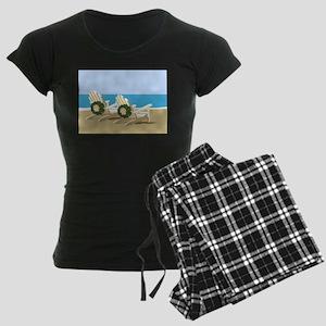 Beach Chairs with Wreaths Women's Dark Pajamas