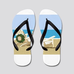 Beach Chairs with Wreaths Flip Flops