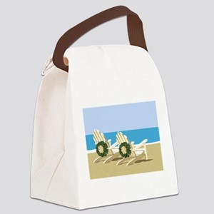 Beach Chairs with Wreaths Canvas Lunch Bag