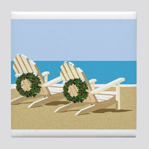 Beach Chairs with Wreaths Tile Coaster
