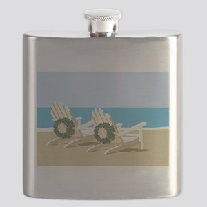 Beach Chairs with Wreaths Flask
