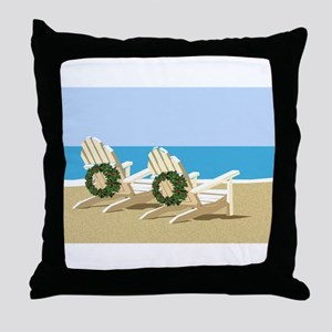 Beach Chairs with Wreaths Throw Pillow