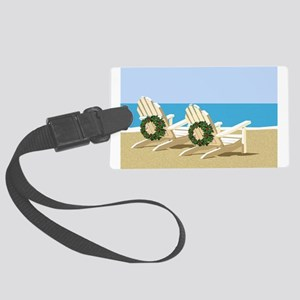 Beach Chairs with Wreaths Large Luggage Tag