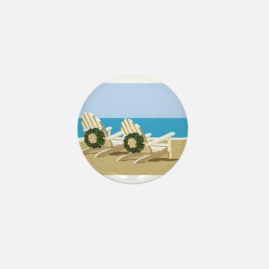 Beach Chairs with Wreaths Mini Button
