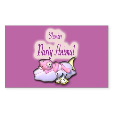 Slumber Party Animal Gifts Rectangle Sticker