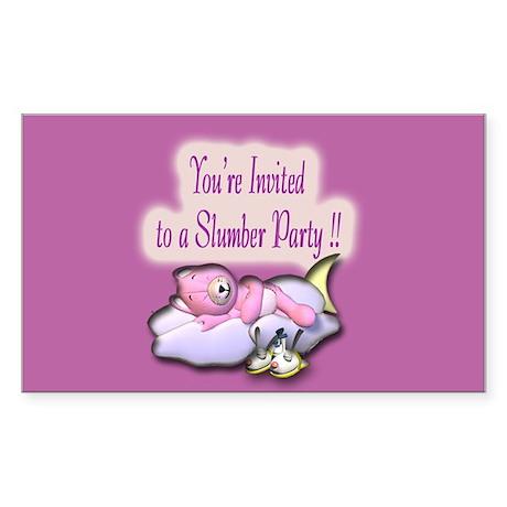 Slumber Party Invitation Rectangle Sticker