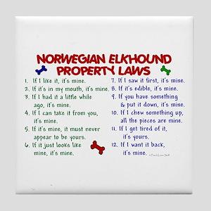 Norwegian Elkhound Property Laws 2 Tile Coaster