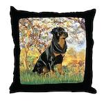 Spring / Rottweiler Throw Pillow