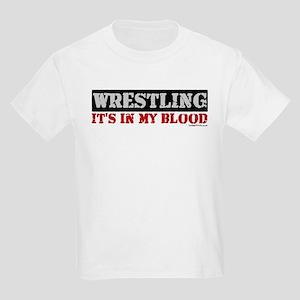 WRESTLING (IT'S IN MY BLOOD) Kids Light T-Shirt