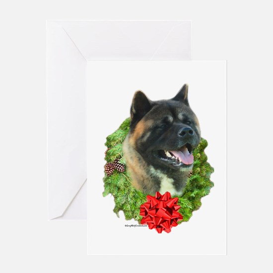 Akita Wreath Greeting Card