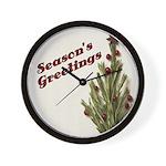 Season's Greetings - Holly Wall Clock