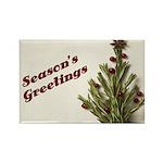 Season's Greetings - Holly Rectangle Magnet