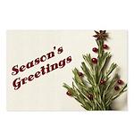 Season's Greetings - Holly Postcards (Package of 8