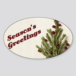 Season's Greetings - Holly Oval Sticker