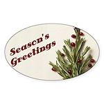 Season's Greetings - Holly Oval Sticker