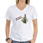Season's Greetings - Holly Women's V-Neck T-Shirt