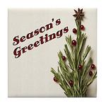 Season's Greetings - Holly Tile Coaster